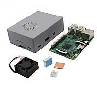 4 В 1 Raspberry Pi 3 модели B + серый ABS Дело Shell + алюминиевый радиатор медный радиатор + ABS Мини-вентилятор охлаждения Kit