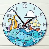 """Часы в детскую - """"Пиратский корабль на волнах"""" (на пластике)"""