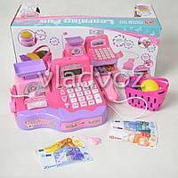 Игрушка детская касса игрушечная набор магазин игровая с сканером и макрофоном розовая Cash Market Register