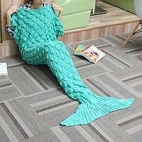 180x90 пряжа вязание хвост русалки одеяло волна полоса теплая постель коврик супер мягкий мешок сна
