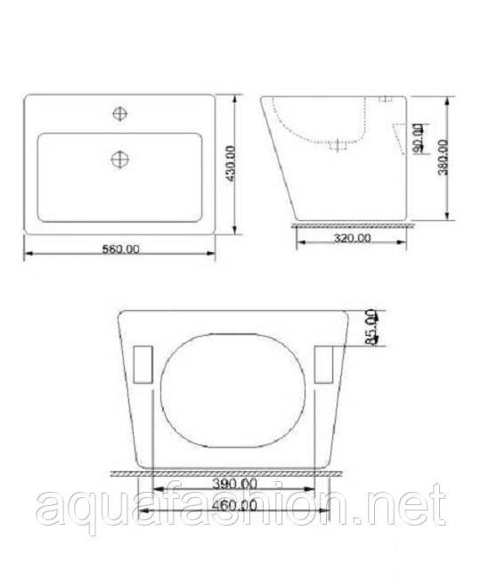 Дизайнерская подвесная раковина 56 см Newarc Power