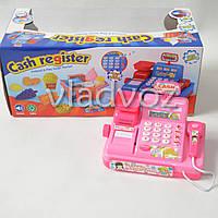 Игрушка детская касса игрушечная набор магазин игровая с сканером розовая Cash Register