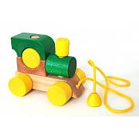 Деревянная игрушка машинка паровозиккаталка конструктор логика