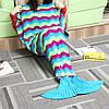 180x90cm три цветных полосок пряжи вязание хвост русалки одеяло теплый мешок супер сна коврик мягкая кровать