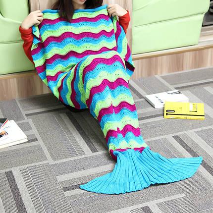 180x90cm три цветных полосок пряжи вязание хвост русалки одеяло теплый мешок супер сна коврик мягкая кровать, фото 2