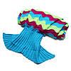 180x90cm три цветных полосок пряжи вязание хвост русалки одеяло теплый мешок супер сна коврик мягкая кровать, фото 3