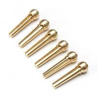 6шт Прочные металлические латунные штыри моста для акустической гитары Золотые аксессуары