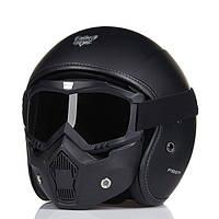 ECE Винтаж мотоцикл Стеклянный шлем из стекловолокна с лицом Маска Защитные очки для Harley