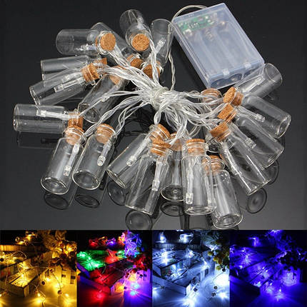 С питанием от батарей 20 LED желая бутылка фея свет шнура Рождество сад свадьба декор, фото 2