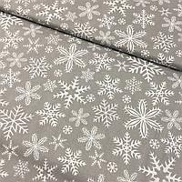 Ткань с густыми белыми снежинками на сером фоне, ширина 160, фото 1
