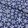 Ткань с густыми снежинками на синем фоне, ширина 160 см