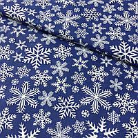 Ткань с густыми снежинками на синем фоне, ширина 160 см, фото 1