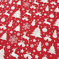 Ткань со снежинками, ёлками, оленями, снеговиками и колокольчиками на красном фоне, ширина 160 см, фото 1