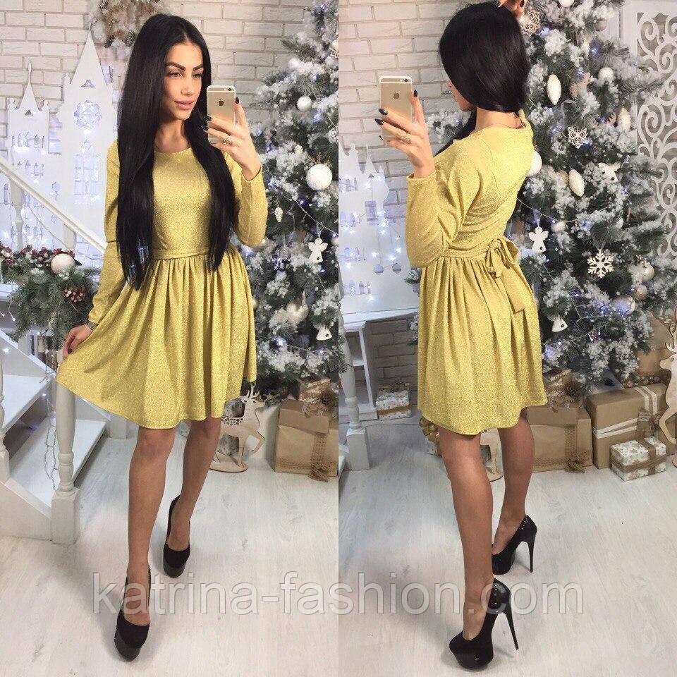 1c332603acc Женское красивое платье с юбкой-солнце трикотаж с люрексом (3 цвета ...
