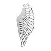 Подвеска Крыло ангела, Нержавеющая cталь, Серебряный тон, Полый, 42 mm x 19 мм, Толщина: 0,3 мм