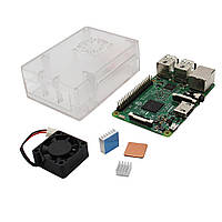4 В 1 Raspberry Pi 3 Модель B + прозрачный корпус ABS Shell + алюминиевый радиатор медный радиатор + ABS Мини-вентилятор охлаждения Kit