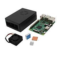 4 В 1 Raspberry Pi 3 модели B + черный ABS Дело Shell + алюминиевый радиатор медный радиатор + ABS Мини-вентилятор охлаждения Kit