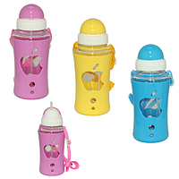 Бутылка для воды с силиконовой поилкой APPLE 520 мл.(розовая)