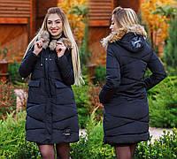 """Женское зимнее пальто холлофайбер в больших размерах 1668-1 """"Хром"""""""