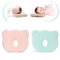 22xхлопок памяти 26x3.5cm новорожденного ребенка коррекции головы шейного позвонка подушка синий розовый
