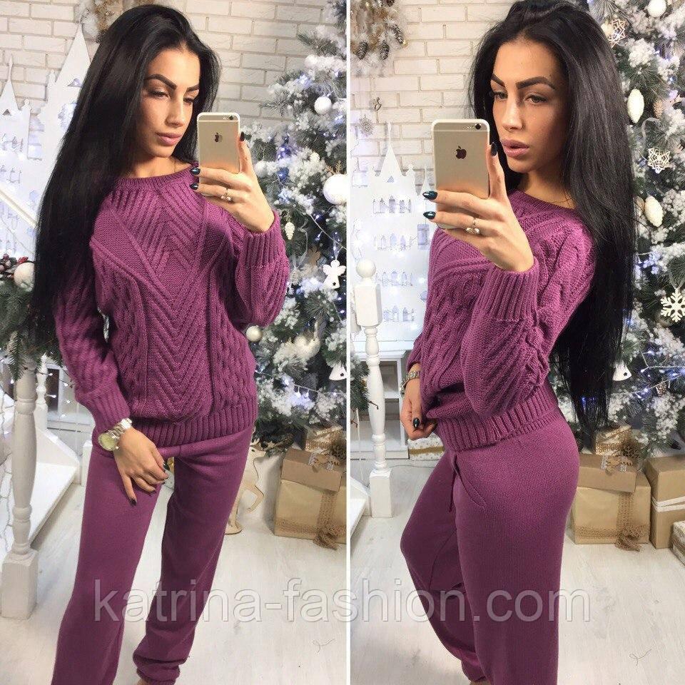 Женский стильный вязаный костюм: свитер и штаны : продажа ...