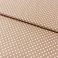 Ткань с мелким белым горошком на коричневом фоне, ширина 220 см, фото 1
