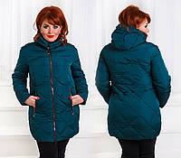 Тёплая женская куртка холлофайбер в больших размерах 0036 в расцветках
