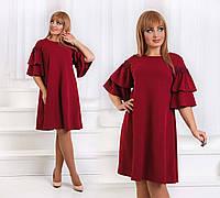 """Элегантное нарядное женское платье в больших размерах 1183 """"Креп Рукава Воланы Мулине"""" в расцветках"""