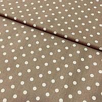 Ткань с белыми горошками 7 мм на коричневом фоне, ширина 160 см, фото 1