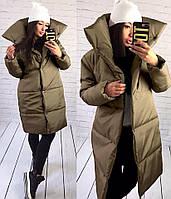 """Зимнее стильное женское пальто-одеяло на силиконе 143 """"Канада Воротник Кнопки"""" в расцветках"""