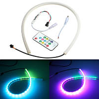 60см RGB LED свет прокладки гибкий неон капот украшения автомобильный комплект с пультом дистанционного управления