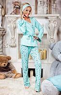 """Женский домашний пижамный костюм с брюками 4017 """"Принт Комби Пастель + Повязка"""" в расцветках"""