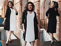 """Элегантное свободное женское платье в больших размерах 283-1 """"Сафари Вставка Контраст Чокер"""" в расцветках"""