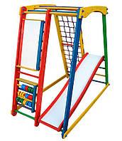 """Деревянный уголок """"TOP margo 2 max"""" детский для спорта и игр (мольберт, горка, счеты, рукоход, сетка) ТМ ТопТоп"""