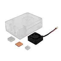 3 в 1 Прозрачный ABS Дело Shell Корпус + алюминиевый радиатор медный радиатор + ABS Mini Активный вентилятор охлаждения для Raspberry Pi 3 Модель B