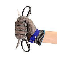Безопасность,вырезать доказательство удар нержавеющей стали металлические сетки мясник перчатка синий