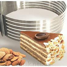 Кулинарное кольцо раздвижное для нарезки коржей(d-от 23 см. до 30 см., h-8 см.)