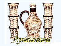 """Керамический набор для вина (7 предметов) Графин + 6 стаканов """"Лучшие вина"""""""