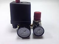 Автоматика к компрессору 2 выхода 220вт 2 манометра металлические + редуктор кран, клапан сброс воздуха PAtools АвтСб3/220мал