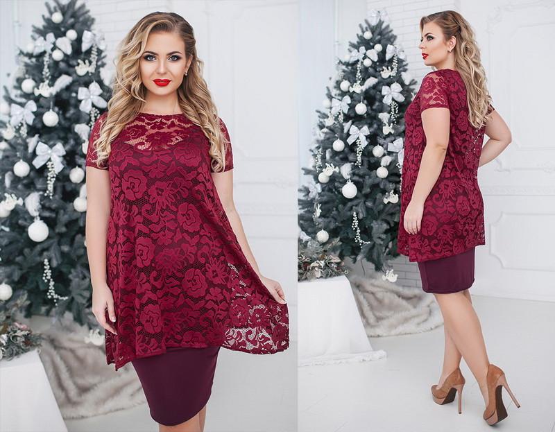 Женское платье двойка большого размера  +цвета