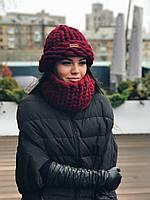 Комплект шапка+снуд 100% шерсть мериноса (Бордо), фото 1