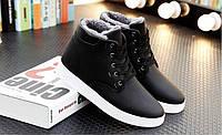Зимние высокие ботинки мужские черные на меху
