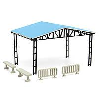 Макет модель здания парковки сарай с 2 заборов 2 скамейки хо масштаба 1:87 комплект