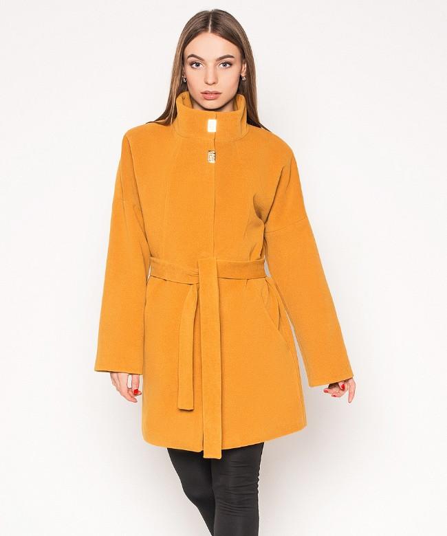 Демисезонное пальто женское, горчица, р.42-50