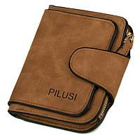 Женский компактный кошелек на кнопке Pilusi 3202 brown