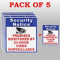 5X Помещения под защитой 24 часа знак видеонаблюдения камеры безопасности стикер