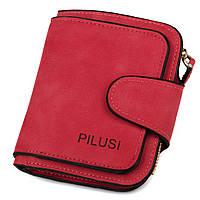 Женский компактный кошелек на кнопке Pilusi 3202 красный