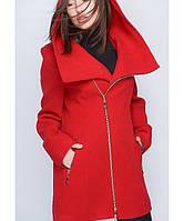 Демисезонное пальто женское, красный, батал, р.50-60