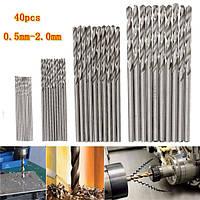 40шт 0.5/0.8/1.5/2 мм HSS микро Спиральные сверла цилиндрическим хвостовиком сверла печатных плат