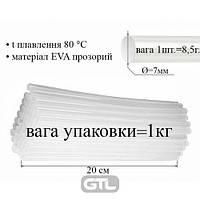 Термо клей в стержнях 7,0 мм х 200 мм, 1 упак = 1 кг / 25 кг / ящ, прозрачный (120),Peri, ТКП-07-200, 32120